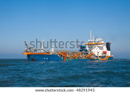 Geopotes dredging on the North Sea - stock photo