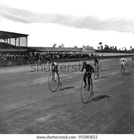 George Barker, c1890, Niagara Falls, NY, USA: Boneshaker bicycle racers at the finish line. Vintage Photo. (c) 2011 Bicycle Race