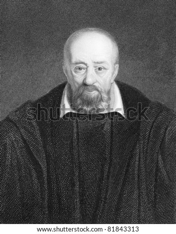 George Buchanan (1506-1582). Engraved by E.Scriven and published in The Gallery Of Portraits With Memoirs encyclopedia, United Kingdom, 1837.
