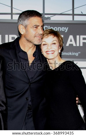 """George Clooney and mom Nina at the Los Angeles Premiere of """"Up In The Air"""" held at the Mann Village Theater in Westwood, California, United States on November 30, 2009.   - stock photo"""