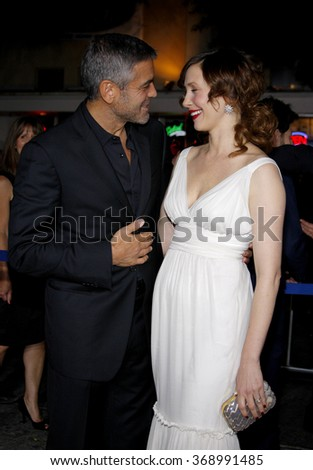 """George Clooney and Vera Farmiga at the Los Angeles Premiere of """"Up In The Air"""" held at the Mann Village Theater in Westwood, California, United States on November 30, 2009.   - stock photo"""
