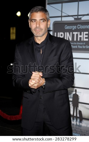 George Clooney at the Los Angeles premiere of 'Up In The Air' held at the Mann Village Theatre in Westwood on November 30, 2009.  - stock photo