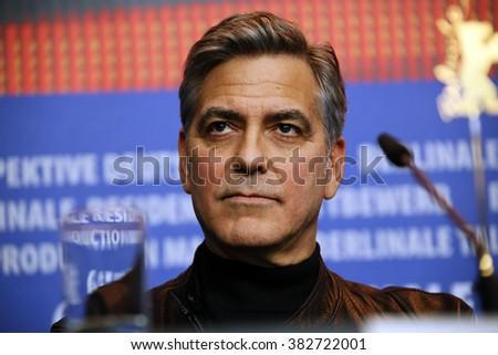 George Clooney attends the 'Hail, Caesar!' press conference during the 66th Berlinale International Film Festival Berlin at Grand Hyatt Hotel on February 11, 2016 in Berlin, Germany. - stock photo