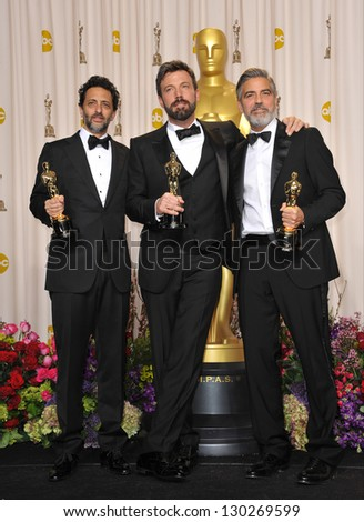 George Clooney, Grant Heslov & Ben Affleck at the 85th Academy Awards at the Dolby Theatre, Los Angeles. February 24, 2013  Los Angeles, CA Picture: Paul Smith