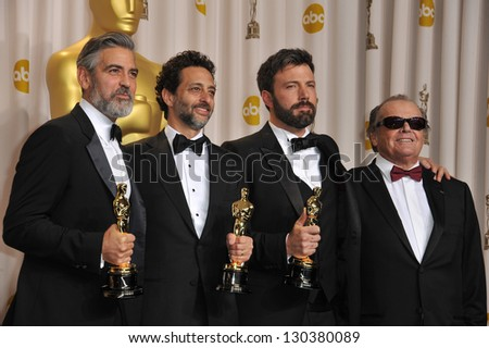 George Clooney, Grant Heslov & Ben Affleck with Jack Nicholson at the 85th Academy Awards at the Dolby Theatre, Los Angeles. February 24, 2013  Los Angeles, CA Picture: Paul Smith - stock photo
