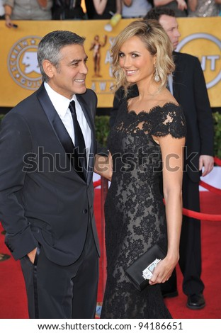 George Clooney & Stacy Keibler at the 17th Annual Screen Actors Guild Awards at the Shrine Auditorium, Los Angeles. January 29, 2012  Los Angeles, CA Picture: Paul Smith / Featureflash