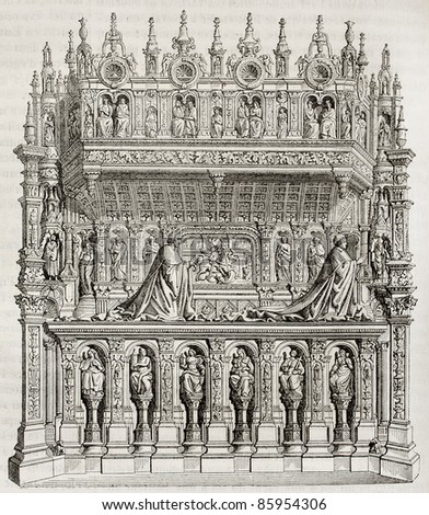 George d Amboise burial old illustration, Rouen cathedral, France. By unidentified author, published on Magasin Pittoresque, Paris, 1842 - stock photo