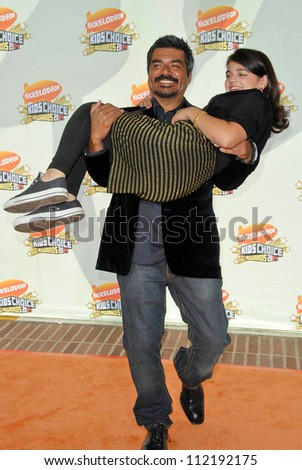 George Lopez and daughter Pedra at Nickelodeon's 20th Annual Kids' Choice Awards. Pauley Pavillion, Westwood, CA. 03-31-07 - stock photo