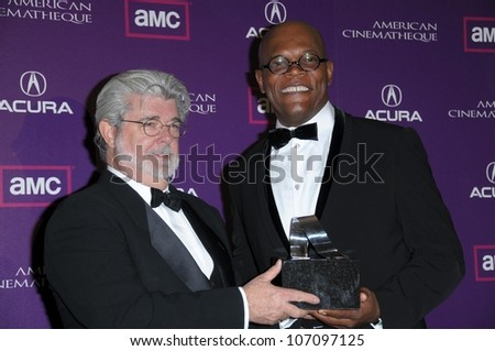George Lucas and Samuel L. Jackson   at the 23rd Annual American Cinematheque Awards. Beverly Hilton, Beverly Hills, CA. 12-01-08 - stock photo