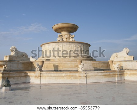 George Scott Memorial fountain in Detroit Michigan USA is on Belle Isle in the Detroit River. It is a beautiful marble water fountain built in 1925 - stock photo
