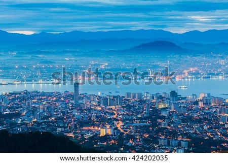 George Town Penang, Malaysia view from Penang Hill during blue hour - stock photo