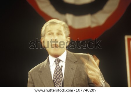 George W. Bush addressing the New Hampshire Presidential Candidates Youth Forum, January 2000 - stock photo