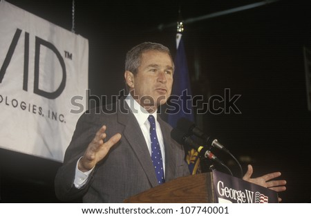 George W. Bush speaking from podium at campaign rally, Laconia, NH, January 2000 - stock photo
