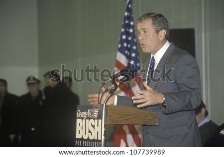 George W. Bush speaking from podium at campaign rally, Londonderry, NH, January 2000 - stock photo
