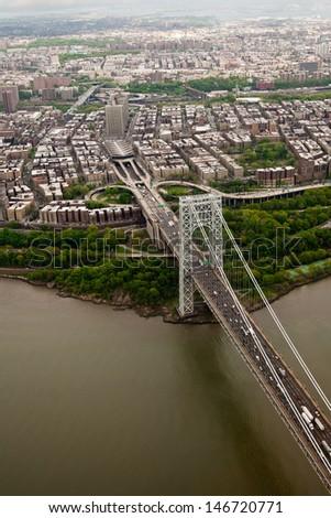 George Washington bridge and Manhattan, aerial view, New York, USA - stock photo