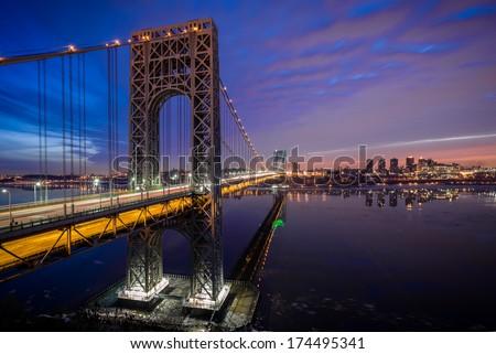 George Washington Bridge at sunrise - stock photo
