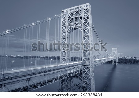 George Washington Bridge black and white over Hudson River. - stock photo