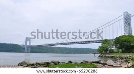 George Washington Bridge  Hudson River on Overcast Cloudy Day View of Fort Lee New Jersey from Washington Heights New York side