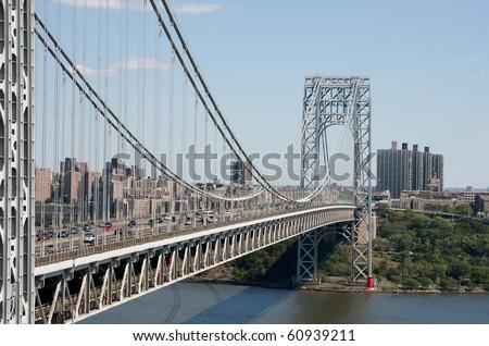 George Washington Bridge, looking east towards New York from New Jersey. - stock photo