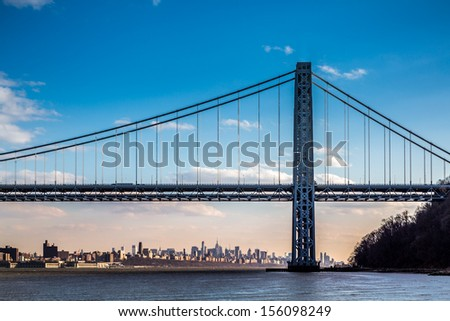 George Washington Bridge spanning the Hudson River, New York - stock photo