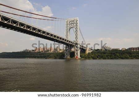 George Washington Bridge with red Lighthouse, New York City, USA