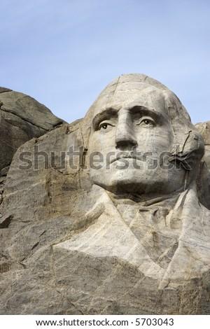George Washington carved in granite at Mount Rushmore National Monument, South Dakota. - stock photo