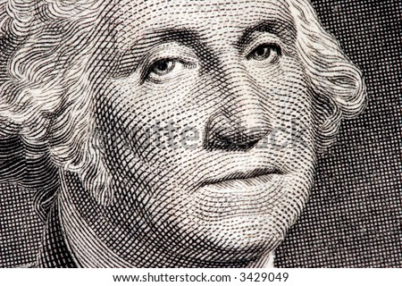 George Washington close up from one dollar bill - stock photo