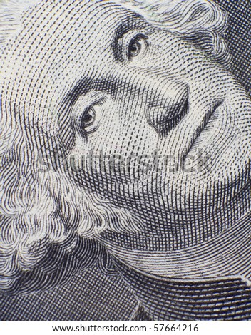 George Washington closeup on the one dollar note - stock photo