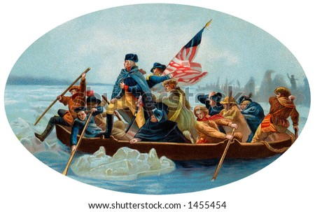 George Washington Crossing the Delaware - An oval, 1908 chromolitho reproduction of Emanuel Leutze's painting (1851) of Washington's December 26, 1776 surprise crossing in the Battle of Trenton - stock photo
