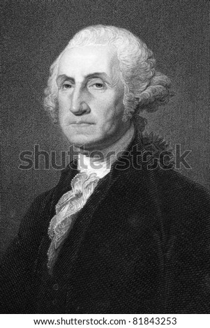 George Washington (1731-1799). Engraved by W.Humphreys and published in The Gallery Of Portraits With Memoirs encyclopedia, United Kingdom, 1837. - stock photo