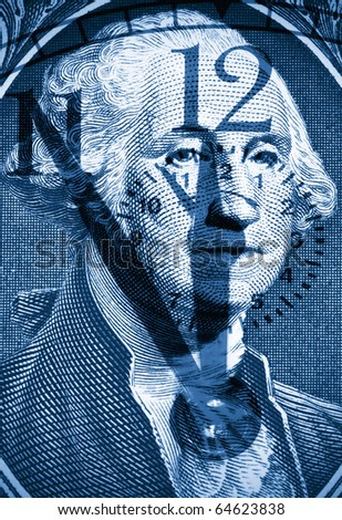 George Washington from US one dollar bill,dual tone - stock photo