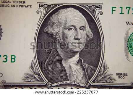 George Washington in front of the old one dollar banknote - stock photo