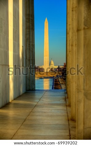 George washington monument and united capitol - stock photo