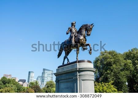 George Washington monument in Public Garden Boston Massachusetts USA - stock photo