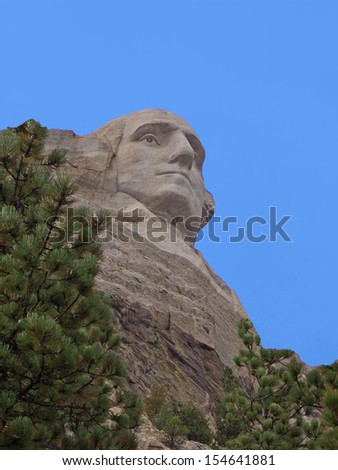 George Washington-Mt. Rushmore, South Dakota.The Mount Rushmore National Memorial is a sculpture carved into the granite face of Mount Rushmore near Keystone, South Dakota, in the United States.  - stock photo