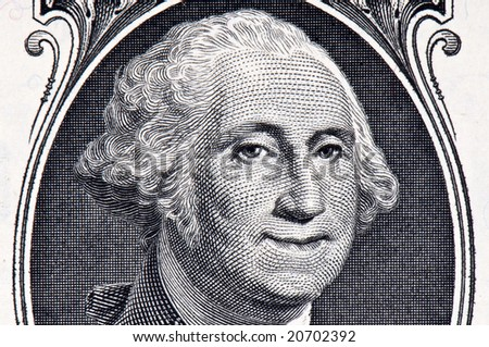 George Washington on a Dollar Bill with a Smile on his Face - stock photo