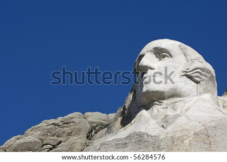 george washington on mount rushmore, looking at copy space
