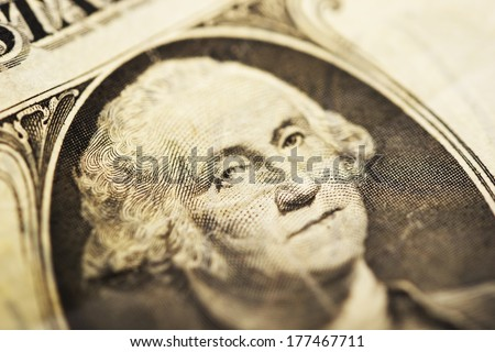 George Washington on One American Dollar Bill. George Washington February 11, 1731 ���¢�¢?�¬�¢?? December 14, 1799 - stock photo