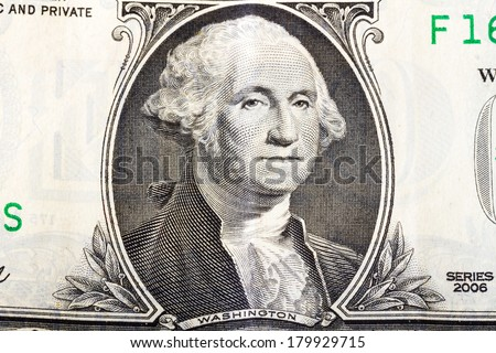 George Washington portrait from one dollars banknote - stock photo