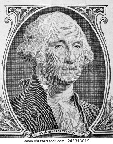 George Washington portrait on one dollar bill. Close up. USD, American Dollar, The United States currency, money concept - stock photo