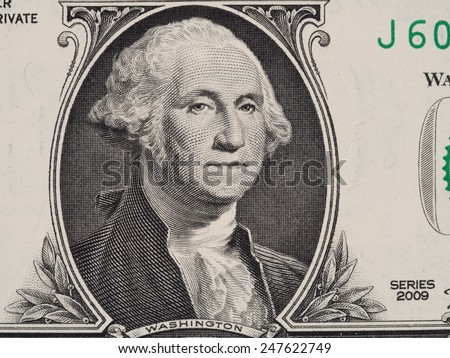 George Washington portrait on the one dollar bill closeup macro, series 2009