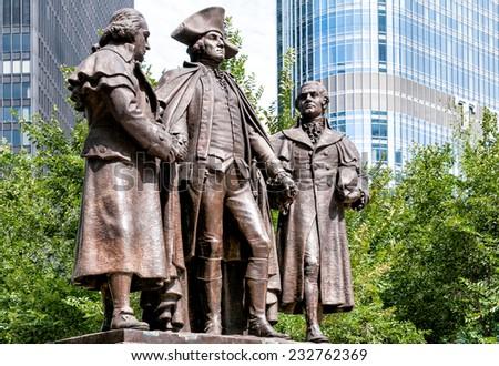 George Washington, Robert Morris, Haym Salomon Memorial,Chicago - stock photo