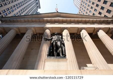 George Washington statue at Wall Street, New york City. - stock photo