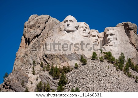 George Washington, Thomas Jefferson, Theodore Roosevelt, and Abraham Lincoln at Mt. Rushmore National Memorial