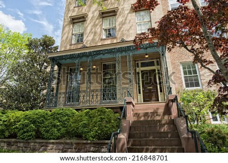 georgetown dc washington houses on sunny spring day - stock photo