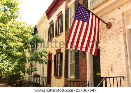 Georgetown historical district townhouses facades Washington DC in USA filtered - stock photo