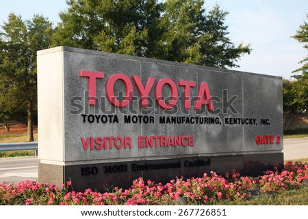 GEORGETOWN, KY-CIRCA JANUARY, 2015:  Entrance to Toyota's largest manufacturing complex outside of Japan.  The plant's 8,000 employees will begin production of its first Lexus model later this year.   - stock photo