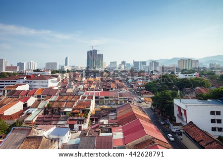 Georgetown, Malaysia - March 27, 2016: Panoramic view over historical part of the Georgetown on March 27, 2016 in Penang, Malaysia.