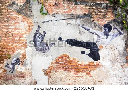 """Georgetown, Penang, Malaysia - April 23, 2014: """"The Real Bruce Lee Would Never Do This"""" street art mural by ASA (Artists for Stray Animals) in George Town, Penang, Malaysia.  - stock photo"""