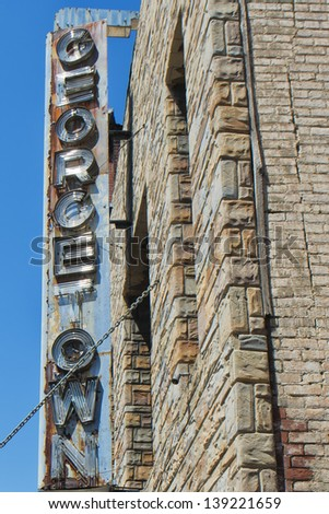 Georgetown scraped sign in Washington DC - stock photo